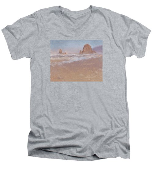 Coastal Escape  Cannon Beach Oregon And Haystack Rock  Men's V-Neck T-Shirt