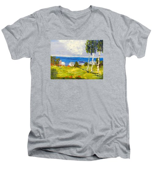 Men's V-Neck T-Shirt featuring the painting Coastal Fishing Village by Pamela  Meredith