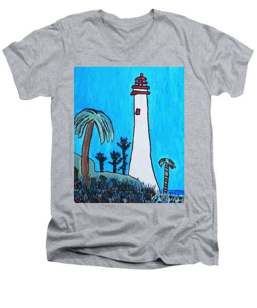 Coastal Lighthouse Men's V-Neck T-Shirt by Artists With Autism Inc