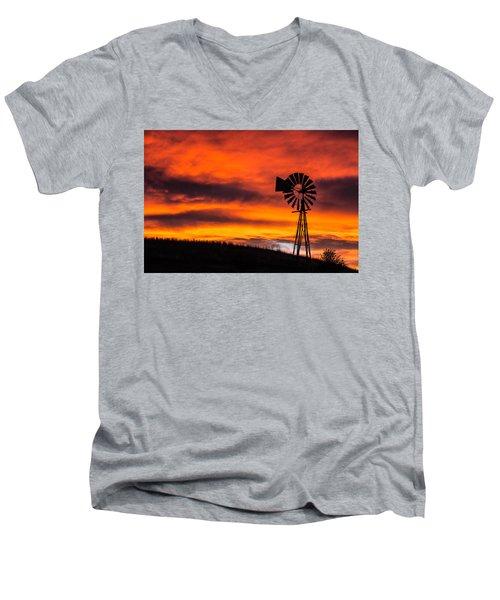 Cobblestone Windmill At Sunset Men's V-Neck T-Shirt