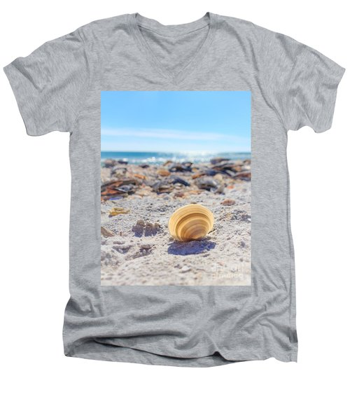 Men's V-Neck T-Shirt featuring the photograph Cockle Shell Summer At Sanibel by Peta Thames