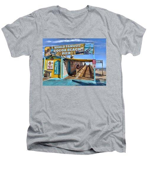 Cocoa Beach Pier In Florida Men's V-Neck T-Shirt by David Smith