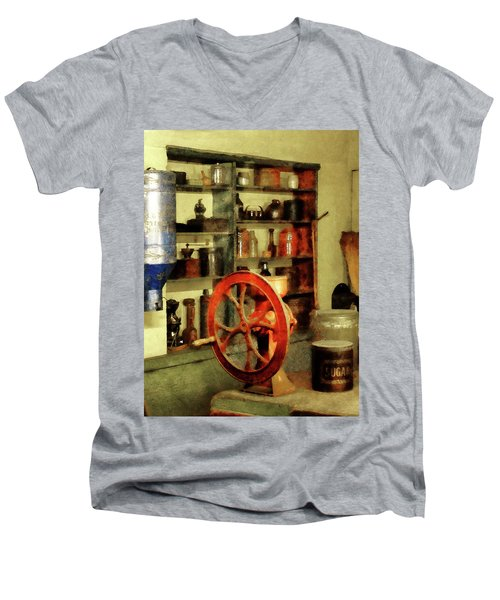 Coffee Grinder And Canister Of Sugar Men's V-Neck T-Shirt by Susan Savad