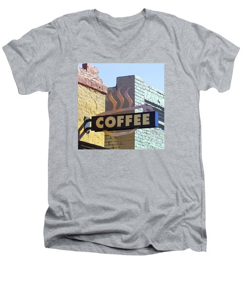 Coffee Shop Men's V-Neck T-Shirt by Art Block Collections