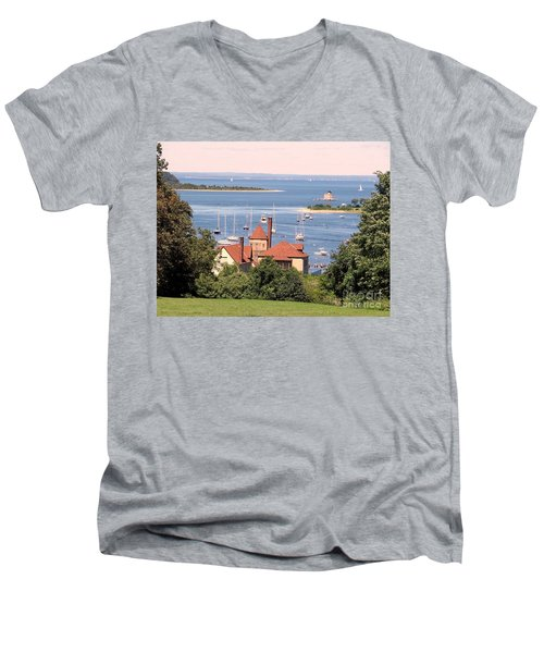 Coindre Hall Boathouse Men's V-Neck T-Shirt by Ed Weidman