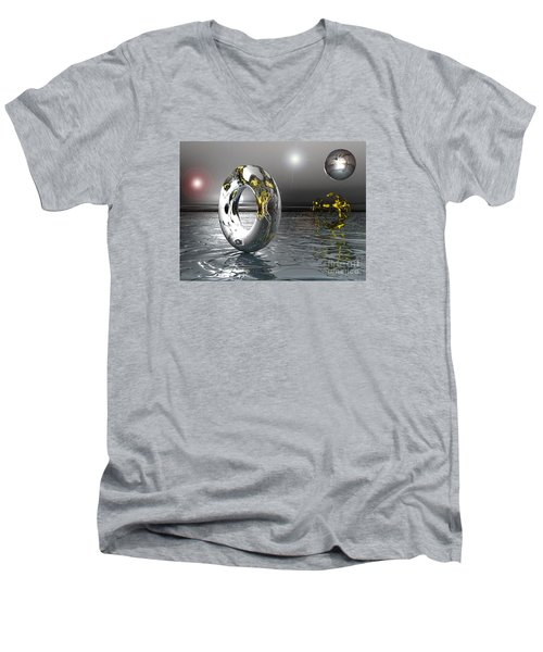 Cold Steele Men's V-Neck T-Shirt by Jacqueline Lloyd