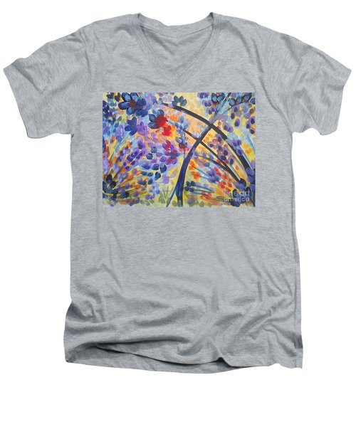 Color Flurry Men's V-Neck T-Shirt by Holly Carmichael