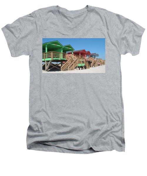 Colorful Cabanas Men's V-Neck T-Shirt by Caryl J Bohn