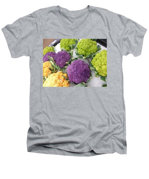 Men's V-Neck T-Shirt featuring the photograph Colorful Cauliflower by Caryl J Bohn