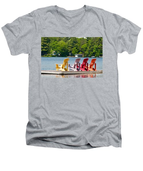 Men's V-Neck T-Shirt featuring the photograph Colorful Chairs by Les Palenik