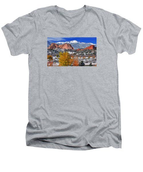 Colorful Colorado Men's V-Neck T-Shirt by John Hoffman