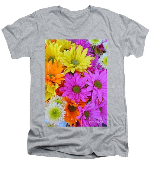 Colorful Daisies Men's V-Neck T-Shirt by Sami Martin