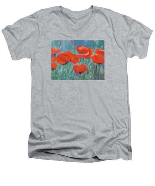Colorful Flowers Red Poppies Beautiful Floral Art Men's V-Neck T-Shirt by Elizabeth Sawyer