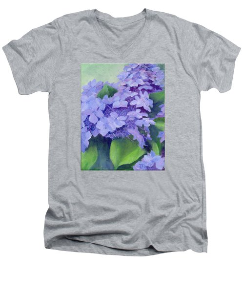 Colorful Hydrangeas Original Purple Floral Art Painting Garden Flower Floral Artist K. Joann Russell Men's V-Neck T-Shirt by Elizabeth Sawyer