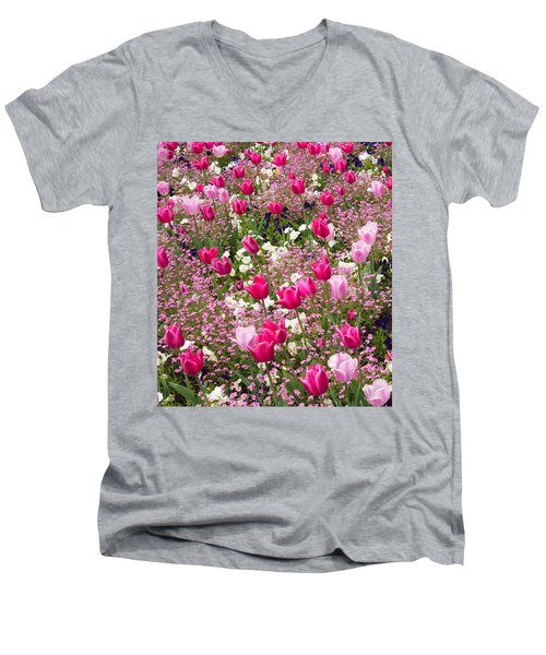 Colorful Pink Tulips And Other Flowers In Spring Men's V-Neck T-Shirt by Matthias Hauser