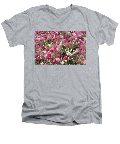 Colorful Pink Tulips And Other Flowers In Spring Men's V-Neck T-Shirt