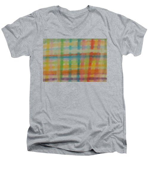 Men's V-Neck T-Shirt featuring the drawing Colorful Plaid by Thomasina Durkay