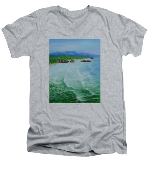 Colorful Seascape Oregon Cannon Beach Ecola Landscape Art Painting Men's V-Neck T-Shirt by Elizabeth Sawyer