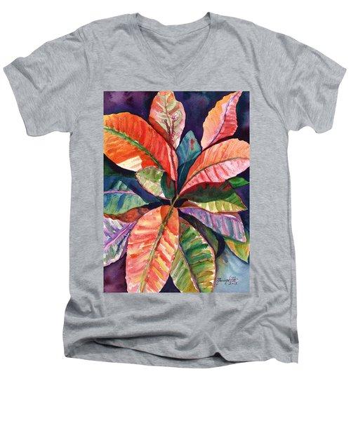 Colorful Tropical Leaves 1 Men's V-Neck T-Shirt by Marionette Taboniar
