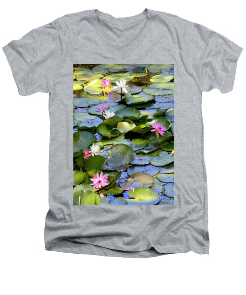 Colorful Water Lily Pond Men's V-Neck T-Shirt