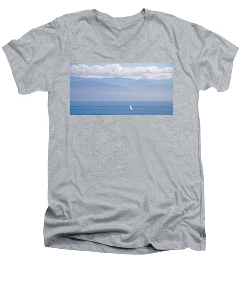Colors Of Alaska - Sailboat And Blue Men's V-Neck T-Shirt