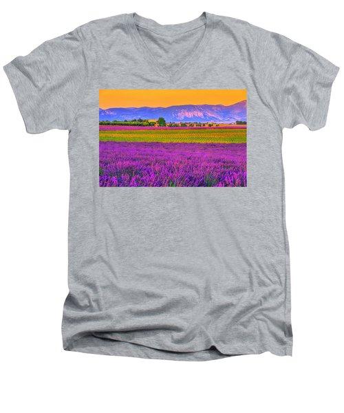 Colors Of Provence Men's V-Neck T-Shirt by Midori Chan