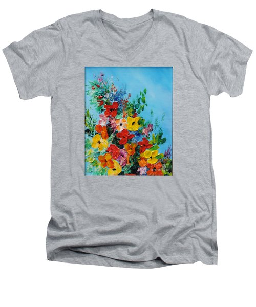 Men's V-Neck T-Shirt featuring the painting Colour Of Spring by Teresa Wegrzyn