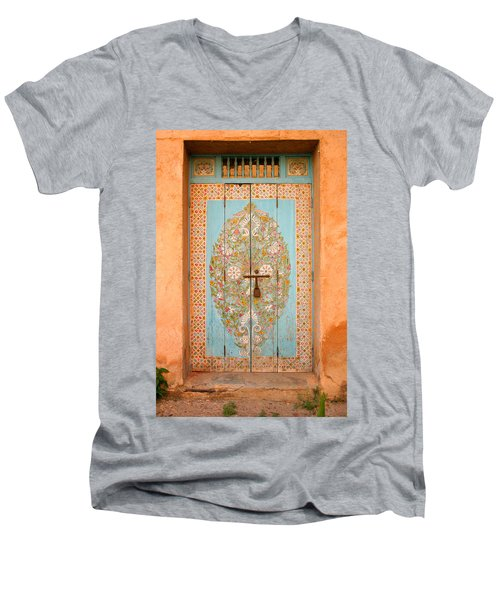 Colourful Moroccan Entrance Door Sale Rabat Morocco Men's V-Neck T-Shirt