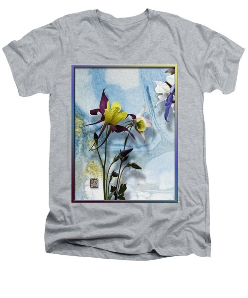 Columbine Blossom With Suminagashi Ink Men's V-Neck T-Shirt