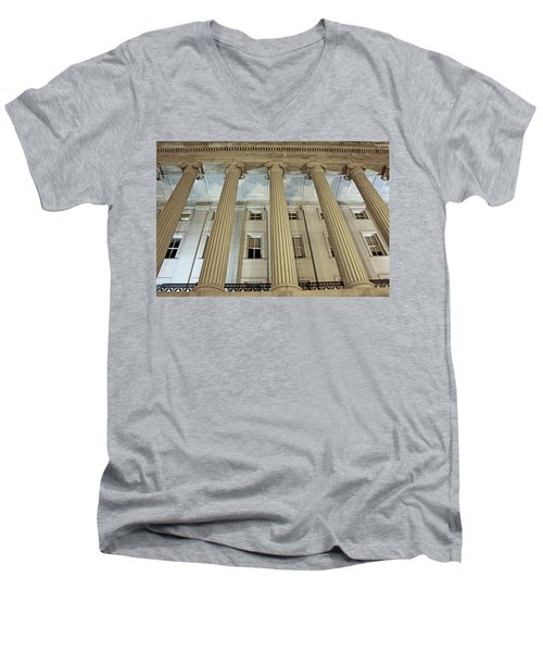 Men's V-Neck T-Shirt featuring the photograph Columns Of History by Suzanne Stout