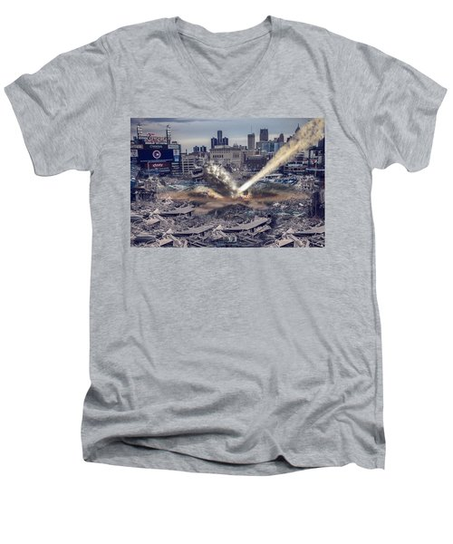 Men's V-Neck T-Shirt featuring the photograph Comerica Park Asteroid by Nicholas  Grunas