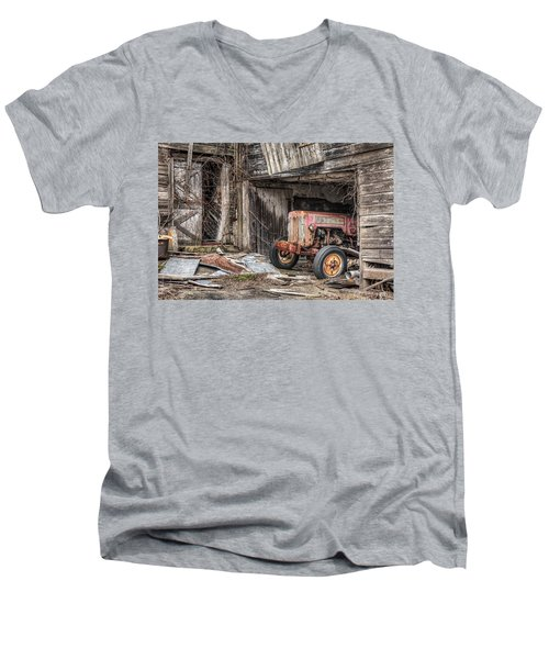 Men's V-Neck T-Shirt featuring the photograph Comfortable Chaos - Old Tractor At Rest - Agricultural Machinary - Old Barn by Gary Heller