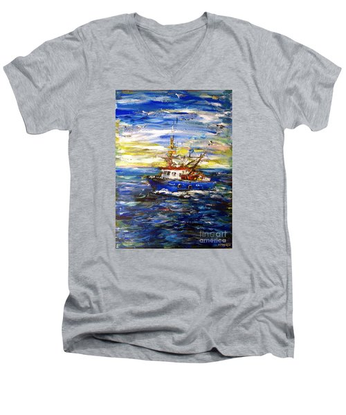 Men's V-Neck T-Shirt featuring the painting Coming Back by Arturas Slapsys