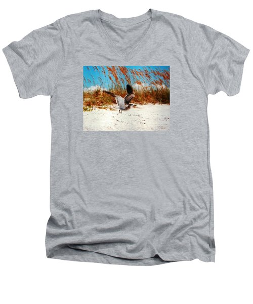 Men's V-Neck T-Shirt featuring the photograph Windy Seagull Landing by Belinda Lee