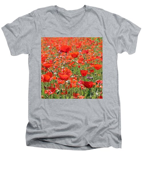 Commemorative Poppies Men's V-Neck T-Shirt