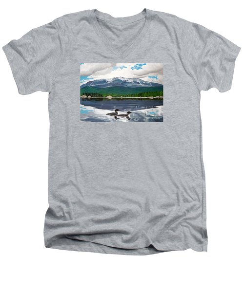 Common Loon On Togue Pond By Mount Katahdin Men's V-Neck T-Shirt
