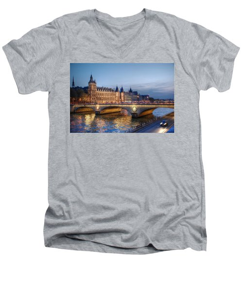 Men's V-Neck T-Shirt featuring the photograph Conciergerie And Pont Napoleon At Twilight by Jennifer Ancker