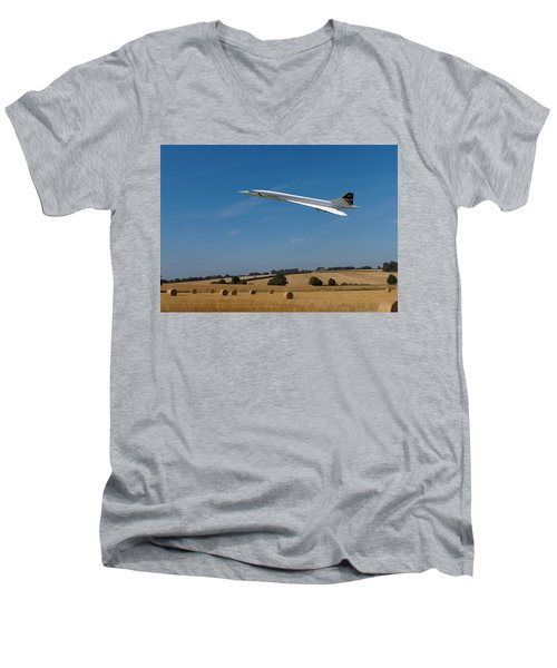 Men's V-Neck T-Shirt featuring the digital art Concorde At Harvest Time by Paul Gulliver
