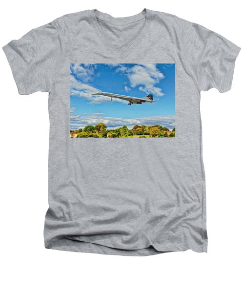 Concorde On Finals Men's V-Neck T-Shirt by Paul Gulliver