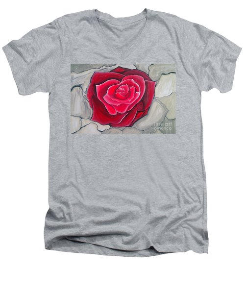 Men's V-Neck T-Shirt featuring the painting Concrete Rose by Marisela Mungia