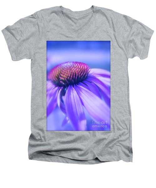 Cone Flower In Pastels  Men's V-Neck T-Shirt by Linda Bianic