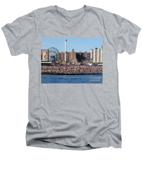 Men's V-Neck T-Shirt featuring the photograph Coney Island by Ed Weidman