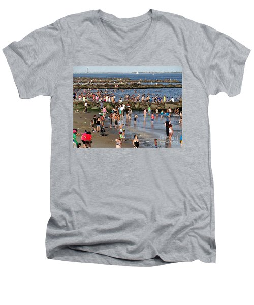 Men's V-Neck T-Shirt featuring the photograph Coney Island Rocks by Ed Weidman