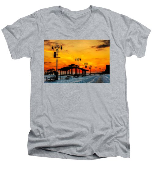 Coney Island Winter Sunset Men's V-Neck T-Shirt by Chris Lord