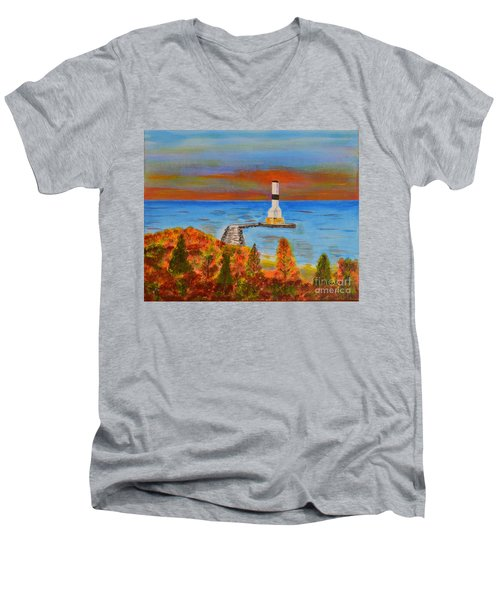 Men's V-Neck T-Shirt featuring the painting Fall, Conneaut Ohio Light House by Melvin Turner