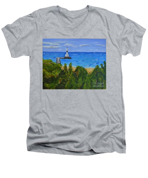 Men's V-Neck T-Shirt featuring the painting Summer, Conneaut Ohio Lighthouse by Melvin Turner