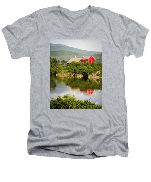 Men's V-Neck T-Shirt featuring the photograph Connecticut River Farm by Edward Fielding