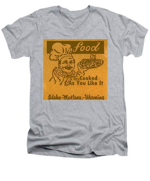 Men's V-Neck T-Shirt featuring the digital art Cooked As You Like It by Cathy Anderson