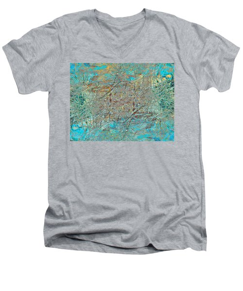 Men's V-Neck T-Shirt featuring the photograph Cool Blue Tangle by Stephanie Grant