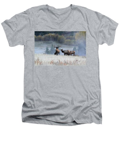Men's V-Neck T-Shirt featuring the photograph Cool Misty Morning by Shane Bechler